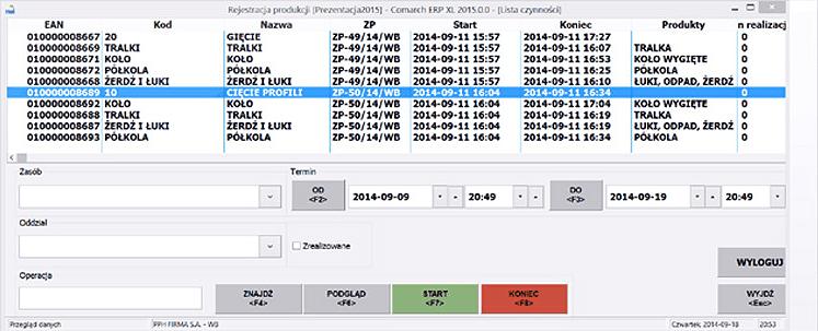 Zarządzanie produkcją - screen systemu
