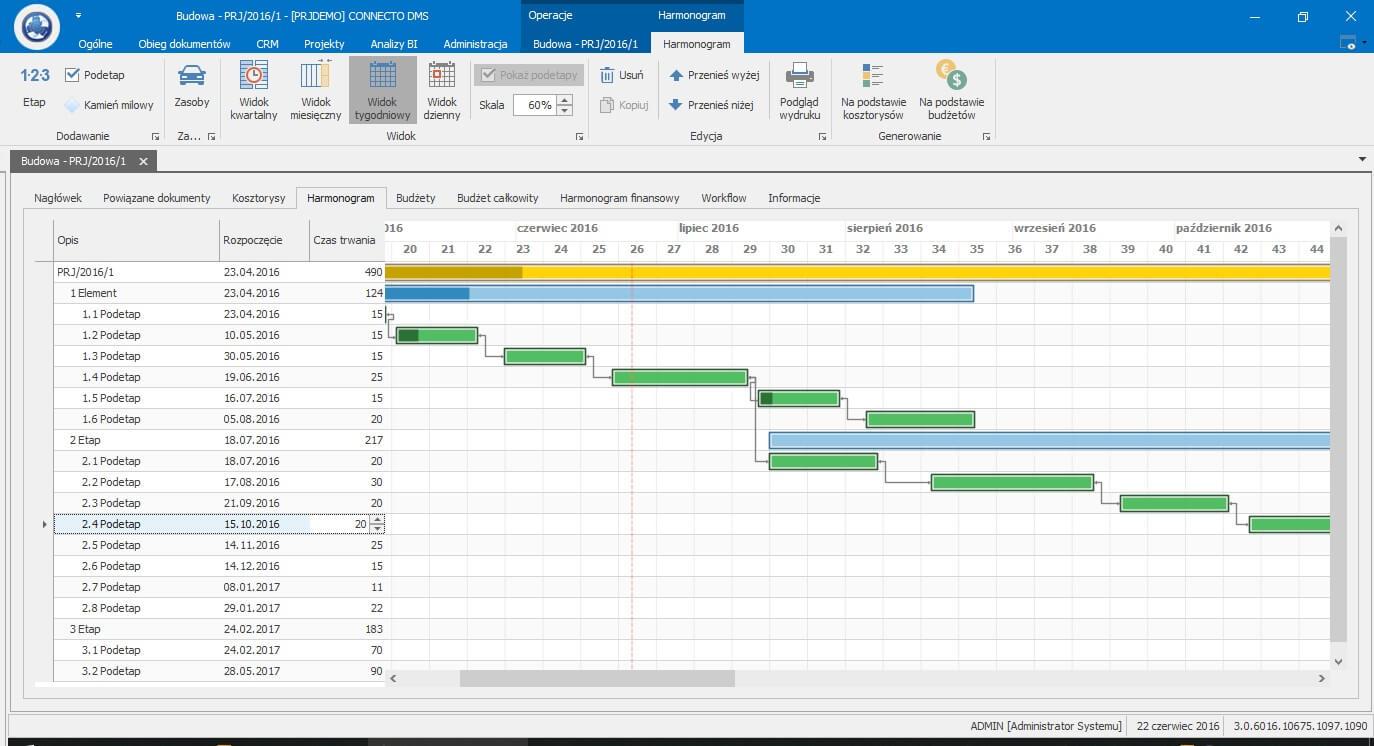 System do zarządzania projektami - harmonogramowanie prac