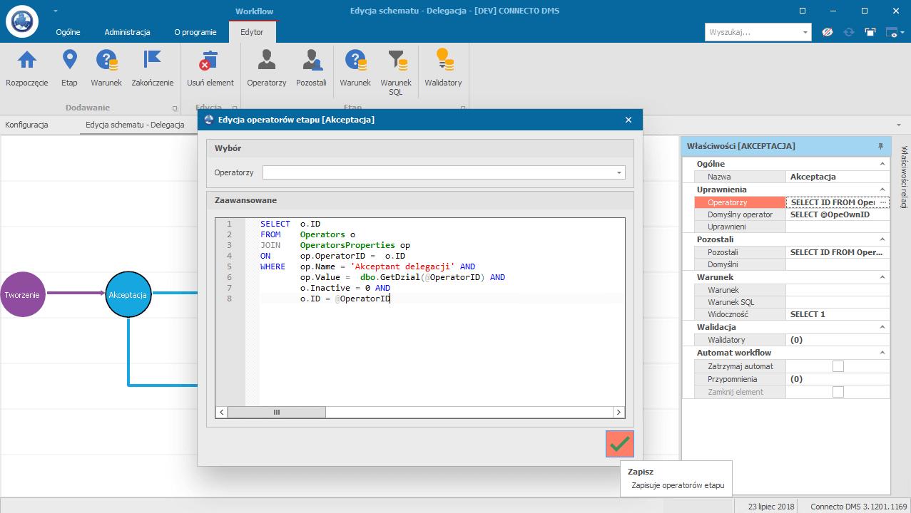 przykład akceptacji delegacji w systemie Connecto DMS